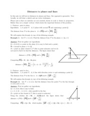 Distances to planes and lines study guide