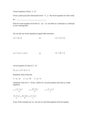 Vector equations of lines