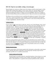 BIO 110 Tips for writing a successful research paper.docx
