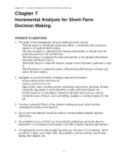 Chapter 7 Incremental Analysis for Short-Term Decision Making ANSWERS TO QUESTIONS