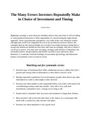 The Many Errors Investors Repeatedly Make in Choice of Investment and Timing.docx