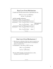 Mechanism Rate Law