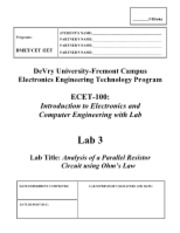 ECET-100, LAB 3, Analysis of a Parallel Resistor Circuit using Ohm's Law