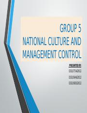 Group 5- National culture and management control