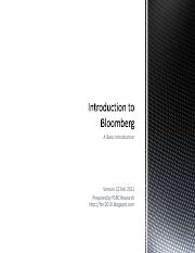 Introduction to Bloomberg v22Feb11