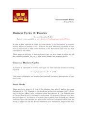 LEC11 Business Cycle Theories