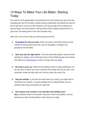10 Ways To Make Your Life Better