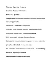 Financial Reporting Concepts