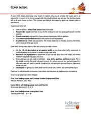 McMaster Material - Cover Letter Tips 2012