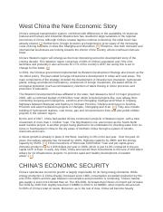 West China the New Economic Story.docx