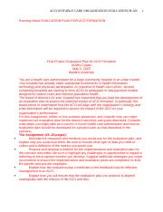 Evaluation Plan for Accountable Care Organization.docx