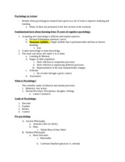 PSYCH 2000 Exam 1 Notes