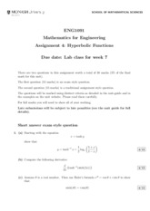 Assignment 4 Hyperbolic Functions