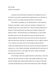 Comp 1 Essay- A Place To Remember