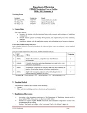 CB2601 Marketing - Course Outline 2014-15 Sem A