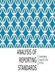 Analysis of Reporting Standards