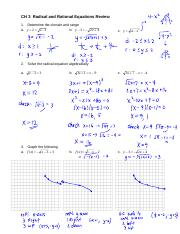 CH 3 Radical and Rational Equations Review answers