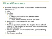 Ch 10 Mineral Economics with questions