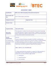 Data Analysis and Design - Assignment 3 Brief