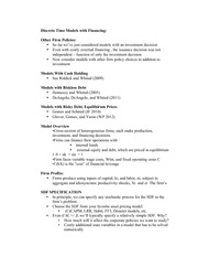 Discrete Time Model Fianncing Notes