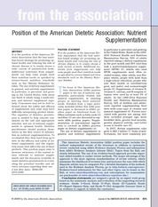 A.N.D Position Paper- Nutrient Supplements