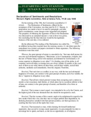 DECEMBER 02 Seneca Falls Declaration of Sentiments and Resolutions
