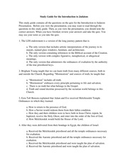 Study Guide for Introduction to Judaism (FDWLD101-01)
