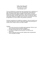 reflection paper morals How to write a reflection paper reflection papers allow you to communicate with your instructor about how a specific article, lesson, lecture, or experience shapes your understanding of.