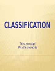 Classification Discussion Notes