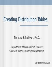 Distribution Table