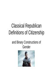Classical Republican Theory and Representations of Women[1]