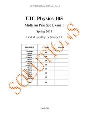 Physics 105 - Midterm 1 Practice with Answers