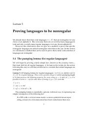 05 Proving languages to be nonregular