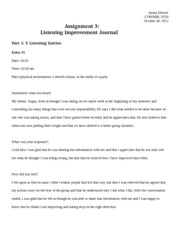 Listening Improvement Journal