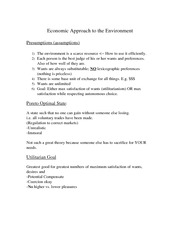 Environmental Ethics Economic Approach to the Environment