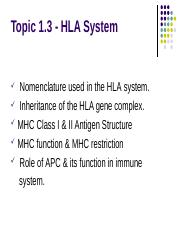 Topic 1.3 HLA System