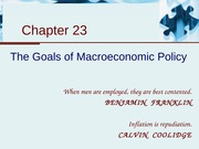 Chapter 23 - The Goals of Macroeconomic Policy