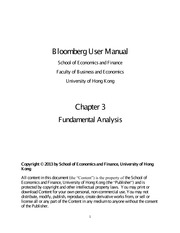 Bloomberg User Manual Chapter Three