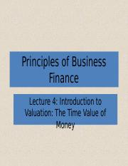 Lecture 4 Introduction to Valuation