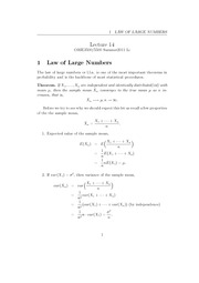 Lecture 14 - Law of Large Numbers