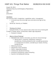 HSEP 101 Critical Thinking Notes
