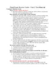 Final Exam Review Guide - Unit 2 Test Material - Updated 12-10-12 - 930pm