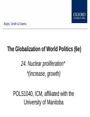 Week 5 C, Chapter 24, Nuclear proliferation