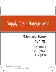 Lecture 1 Overview - Supply Chain Management