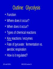 Lecture 16 Glycolysis (1)