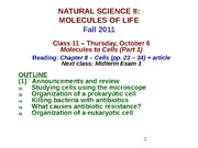 MOL CLASS 11 - Molecules to Cells (Part 2) (class notes F11)