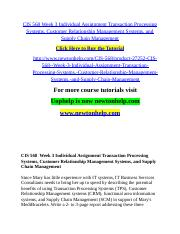 CIS 568 Week 3 Individual Assignment Transaction Processing Systems, Customer Relationship Managemen