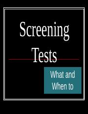 HED 3350 screening tests