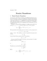 Fourier Transforms Using MATLAB
