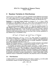 Week 3 Lecture Notes on Random Variables and their Distributions